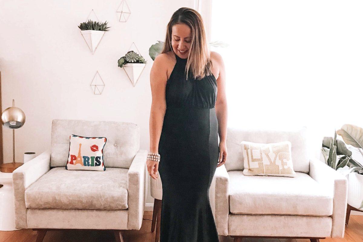 A long black dress is classic and elegant.